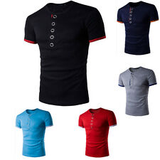 Men Slim Fit Short Sleeve V-neck Button Front Solid Casual T-shirt Tops Tee H