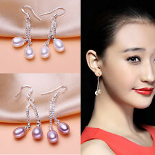 New Fashion 6-7mm Genuine Natural Freshwater Pearl Real Silver Dangle Earrings