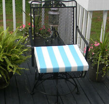 Cancun Blue White Stripe Chair Seat Cushion, Choose Size/Thickness~Seen in HGTV