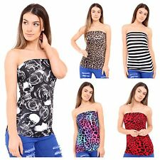 WOMENS LADIES PRINT PATTERN STRAPLESS RUCHED BOOBTUBE BANDEAU TOP PLUS SIZE 8-22