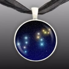 """Leo Constellation Illustration 1"""" Space Pendant Necklace in Silver Tone"""
