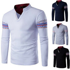 New Men's Long Sleeve Spring Button V-neck Solid Casual T-shirt Basic Tops Tee H