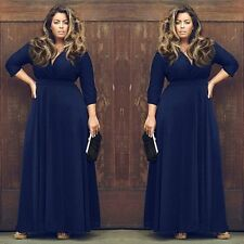 New Oversize Women V-Neck Dress Solid Formal Party Cocktail Maxi Dress Plus Size