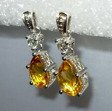 GENUINE CITRINE PEAR OR TEAR DROP DANGLE EARRINGS STERLING SILVER