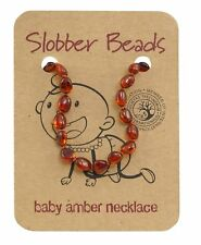 New- Baby Amber Teehing Necklace , Oval Cognac Babltic Amber Necklace for Bab...