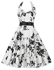 Fashion Womens 1950s Spaghetti Strap Floral Prom Cocktail Vintage Pleated Dress