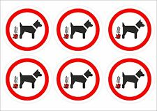 Pack Of 6 No Fouling Dog Stickers 2 Sizes - Prohibition Signs. Park signs