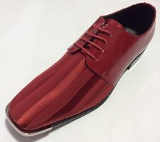 Mens Dress Shoes VIOTTI Satin Shiny Red with Crome Metal Tip Formal Oxford New