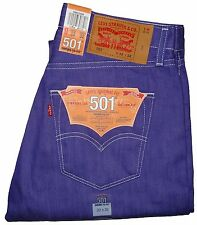 NEW LEVI'S MEN'S 501 ORIGINAL SHRINK-TO-FIT BUTTON FLY JEANS PURPLE #2409 NWT