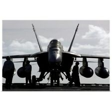 Poster Print Wall Art entitled An F/A18E Super Hornet on the flight deck aboard