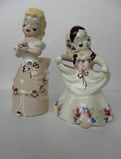 2 Pc. Vintage DeLee California Art Pottery Figural Lady Flower Holder Planters