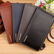MEN FASHION FAUX LEATHER ZIPPER ID CREDIT CARD HOLDER BIFOLD LONG WALLET GROOVY