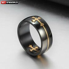 Vintage Black Gold Cross Stainless Steel Mens Ring Jewelry Gothic Punk Band Gift