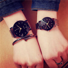 Hot Black Stainless Steel Couple Watch Lover Fashion Simple Men Women Wristwatch