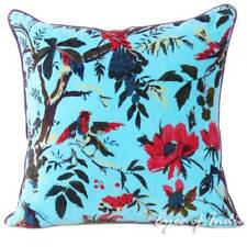Blue Bird Velvet Throw Sofa Cushion Pillow Cover Boho Decorative Bohemian Indian