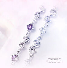 Ladies Holy Crystal Fashion 18K White Gold Plated GP 8 inch Bracelet Jewelry