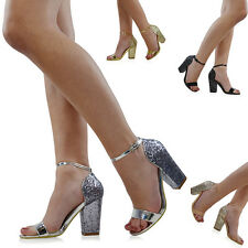 NEW WOMENS STRAPPY SANDALS GLITTER HEEL LADIES PARTY PROM BRIDAL SHOES SIZE 3-8