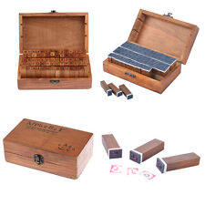 Set of 70pcs Rubber Stamps Alphabet Letters Numbers Retro Wooden Box Case Craft
