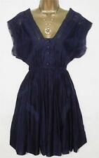 NEW WHISTLES DESIGNER NAVY BLUE SILK VINTAGE  LACE TEA DRESS UK 8 10 12 RRP £95
