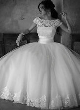 Cap Sleeve A-line White/Ivory Wedding Dress Bridal Gown custom made Size 4-24++