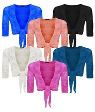 Womens Ladies Lace Mesh Tie Knot 3/4 Sleeve Cropped Bolero Shrug Top Plus Size