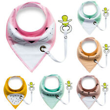 1pc Baby Infant Toddler Triangle Bibs Feeding Saliva Towel with Pacifier Clip