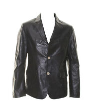 Blus by Suprema Mens Black Leather Italian Made Elbow Patch Blazer