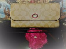 Coach TriFold Ivory Beige Signature Canvas Pinkest Red Leather Wallet