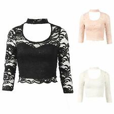 WOMENS LADIES LINED 3/4 SLEEVE CHOKER NECK SCALLOPED HEM FLORAL LACE CROP TOP