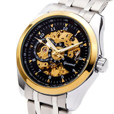 Mens Automatic Mechanical Skeleton Wristwatch Stainless Steel Gold Hollow Watch
