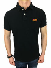 Superdry Mens Classic New Fit Pique Polo Shirt in Black Size Medium