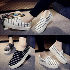 Women's Striped Low Top Slip On Soft Shoes Casual Canvas Sneakers Platform New