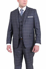 Giorgio Forelli Classic Fit Charcoal Gray Plaid Two Button TWO Piece Suit NO VES