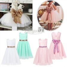 Flower Toddler Baby Girl Princess Sequin Bow Wedding Fancy Party Tutu Dresses