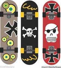 Skateboard trio colour wall art stickers decal pirate skulls room removable boy