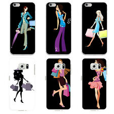 FASHION SHOPPING GIRL PRINT CASE COVER FOR SAMSUNG GALAXY S7 IPHONE 6 GROOVY