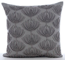 Grey Cotton Linen 65x65 cm Beaded Lotus Pattern Euro Shams - Pearl Harvest