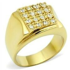 l2W075PB MANS 16 stone  SIMULATED DIAMOND MENS RING ALL SIZES SIGNET PINKY