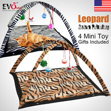 Leopard Zebra Print Pet Cat Activity Playing Tent Toy Bed Pad Dog Mat House