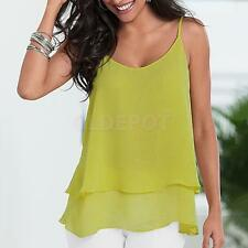 Women Sexy Chiffon Tops Casual Sleeveless Blouse Spaghetti Strap Cami Tank Tops