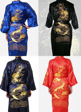Retro Embroidery Dragon China Silk Men's Bathrobe Kimono Robe Gown S M L XL XXL