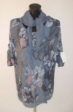 Print Top with Scarf Italia Moda Linen/Cotton Womens Flowers Sequin Trim Loose