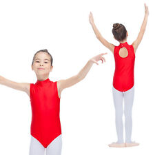 Ballet Leotard Gymnastics Dance Shiny Lycra Turtle Neck Suit Girls Kids