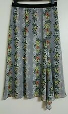 NEW M&S 10-20 Butterfly Print Grey Chiffon Midi Skirt Floral Summer Holiday