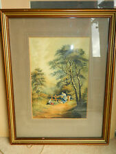 Antique 1915 watercolour painting of a country landscape scene