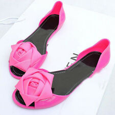 Fashion Womens Rose Flat Open Toe Jelly Shoes Summer Beach Flower Sandals New