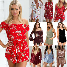 Women Fashion Strappy Jumpsuits Rompers Backless Printed Playsuit Cover Up Hot H