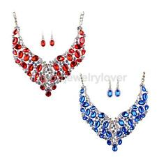 Charm Jewelry Shiny Crystal Choker Chunky Statement Necklace Earring Jewelry Set