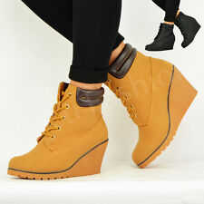 Ladies Womens Mid High Wedge Heel Winter Biker Ankle Boots Shoes Size Uk 3-8