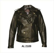 Ladies retro brown motorcycle Buffalo Leather 3 front zippered pockets Jacket